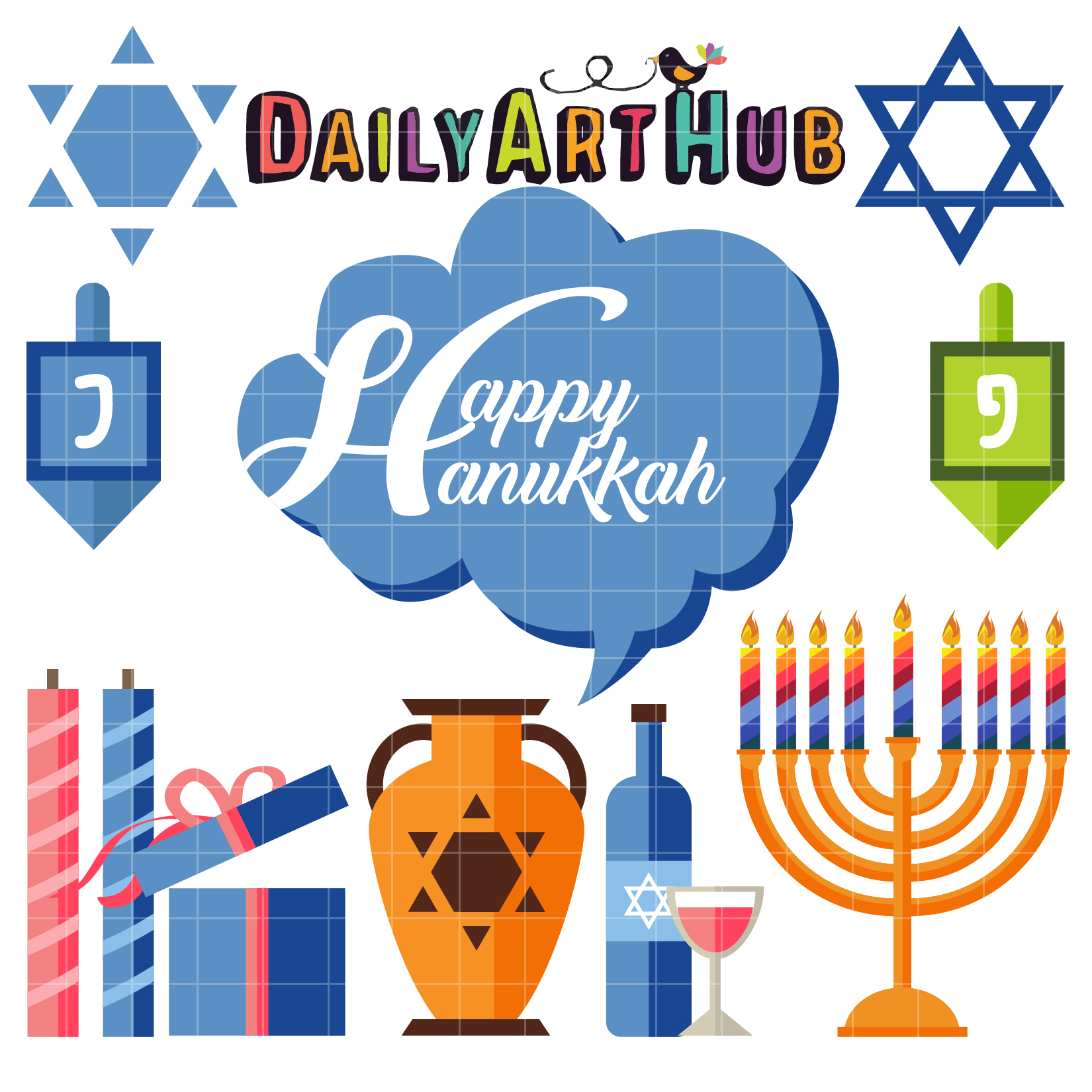 Happy Hanukkah Clip Art Set.