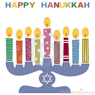 Happy Hanukkah Candle Stand Clipart.