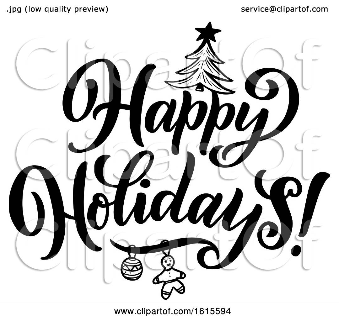 Clipart of a Black and White Happy Holidays Greeting.