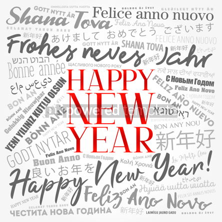 2020 Happy New Year in different languages.