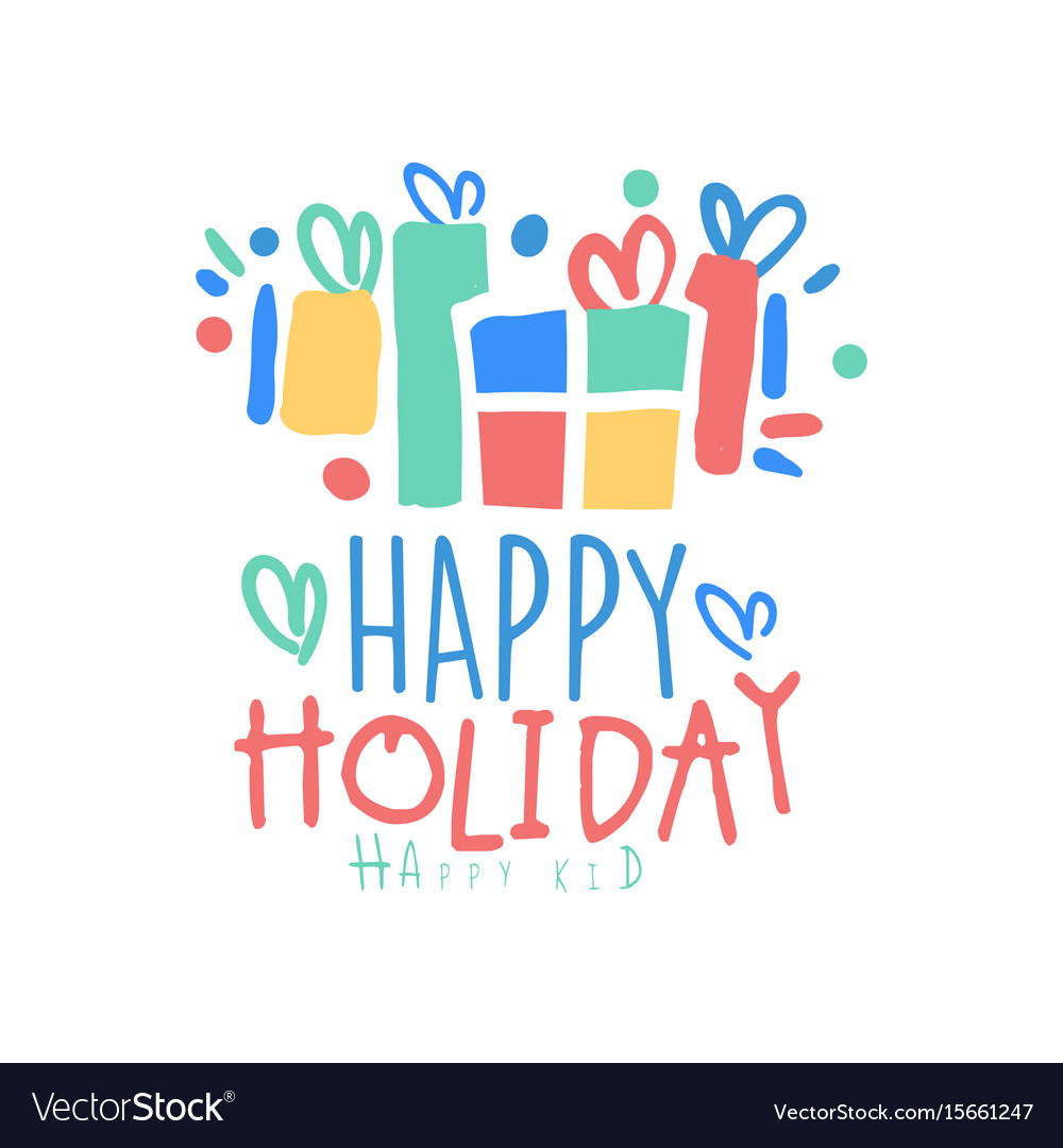 Happy holiday happy kid logo template colorful.