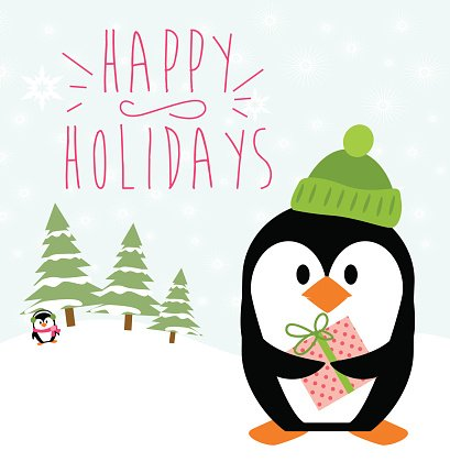 Happy Holidays card Clipart Image.