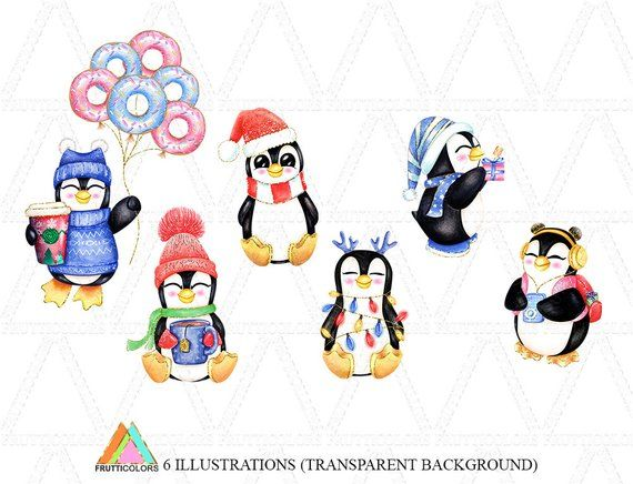 Cute Happy Penguin Clipart Winter Penguins Christmas Holiday.