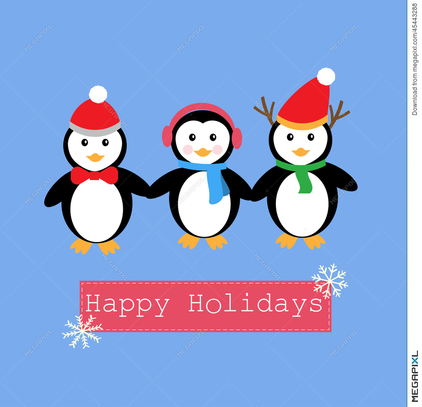 1162 Penguins free clipart.
