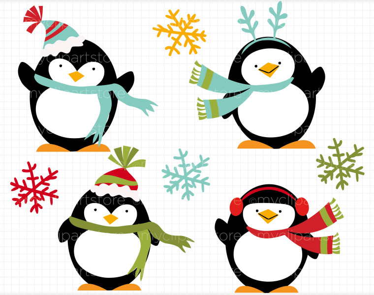 Penguin Holiday Clipart.