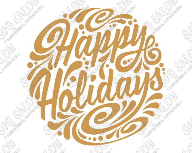 Happy Holidays Ornament Cut File in SVG, EPS, DXF, JPEG, and PNG.
