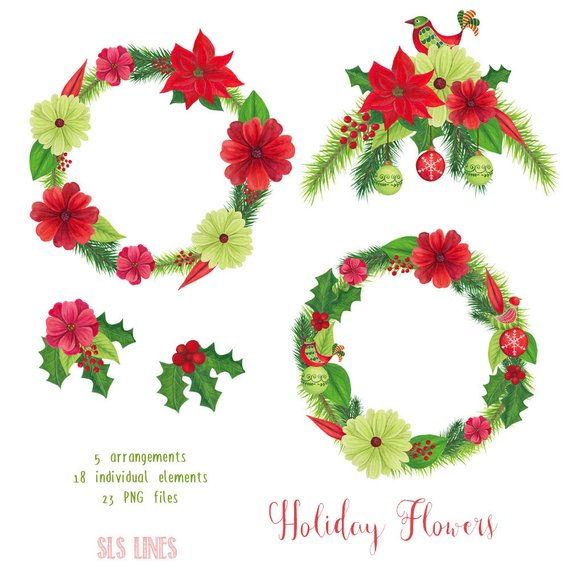 Watercolor Christmas Clipart, xmas graphics, holiday wreath.