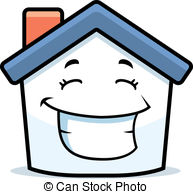 Cartoon estate grin happy home house illustration real Vector.