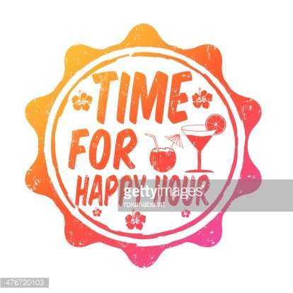 Time for happy hour stamp Clipart Image.