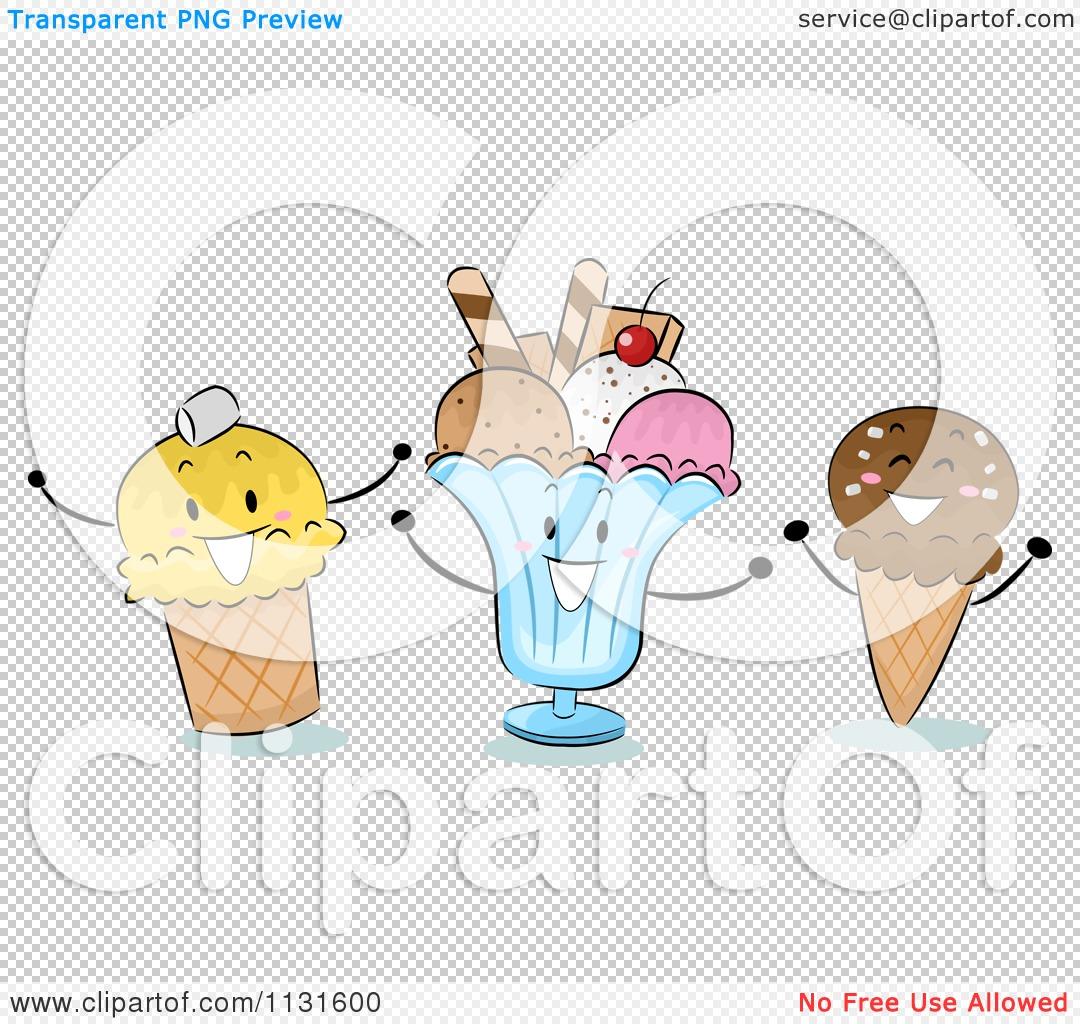 Cartoon Of Happy Ice Cream Cones And Sundae.