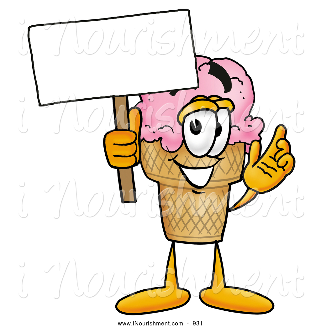 Clipart of a Happy Ice Cream Cone Mascot Cartoon Character Holding.