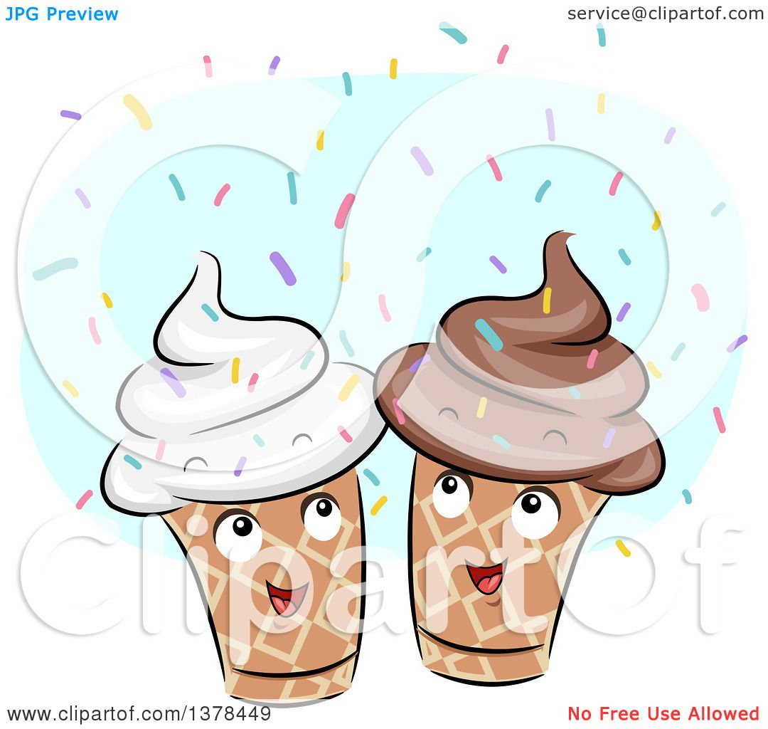 Clipart of Happy Ice Cream Cones with Sprinkles.