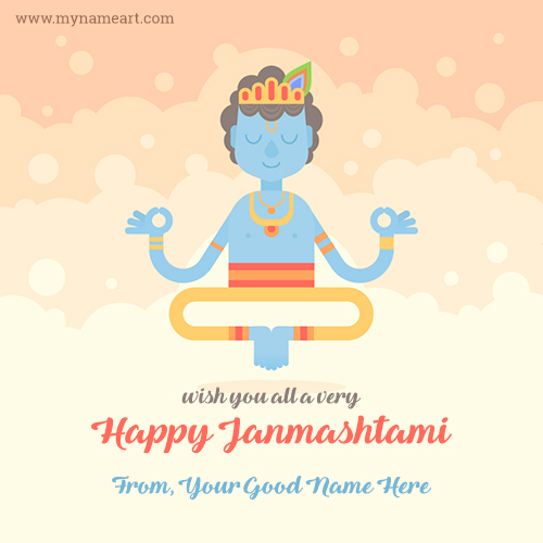 Wish You All A Very Happy Janmashtami Image With Name.