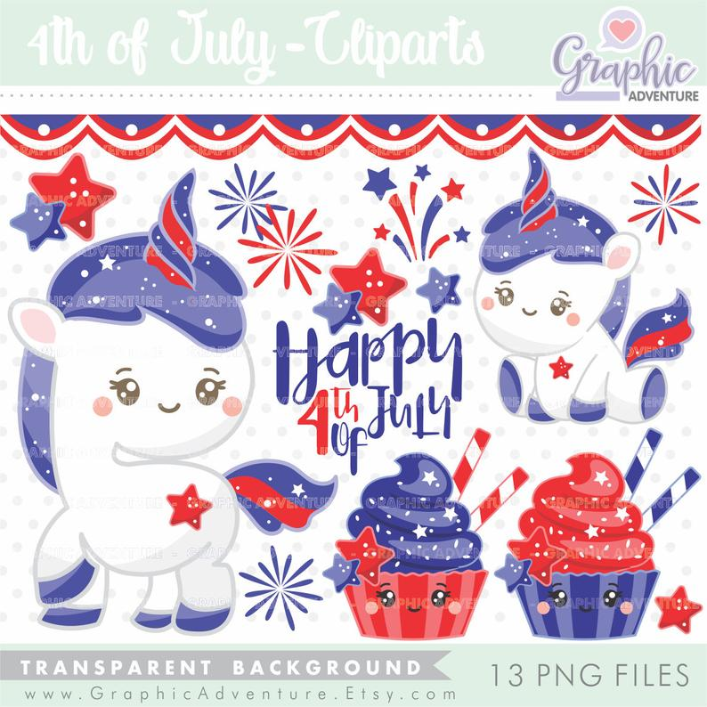 4th of July Clipart, 4th of July Graphics, Unicorn Clipart, Unicorn  Graphics, COMMERCIAL USE, Happy 4th of July, 4th of July Party, Unicorn.