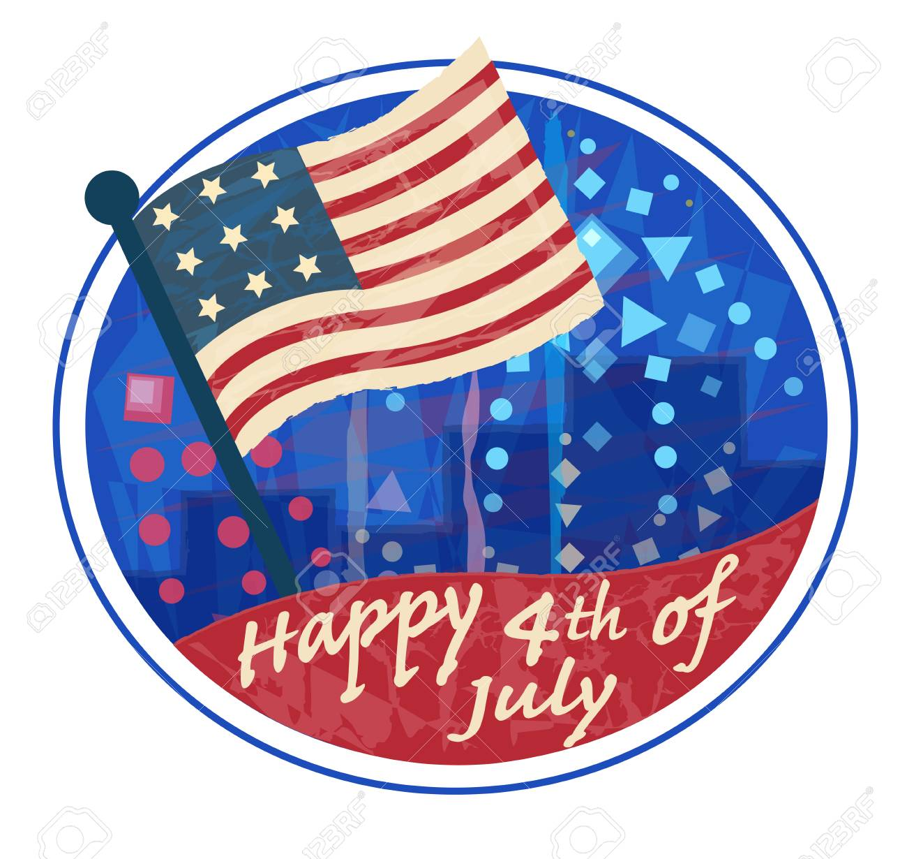 Happy 4th of July clip art with American flag and fireworks.