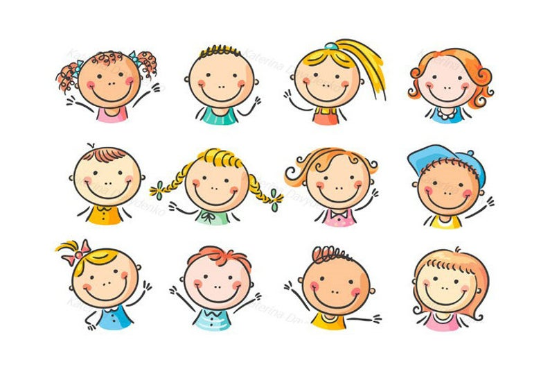 Set of 12 happy cartoon kids faces. Children clipart, kids clipart, faces  clipart..