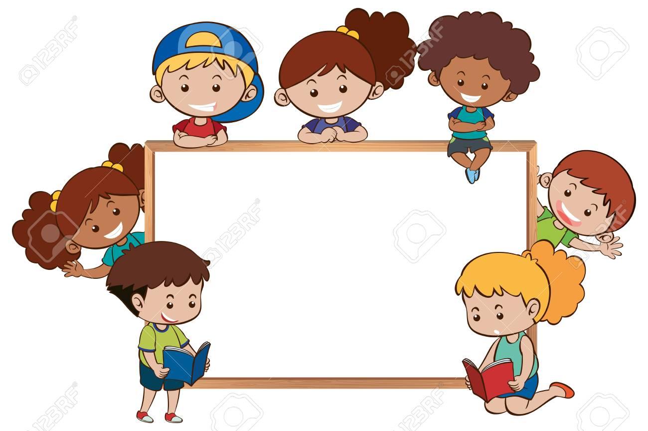 Whiteboard and happy kids around it illustration.