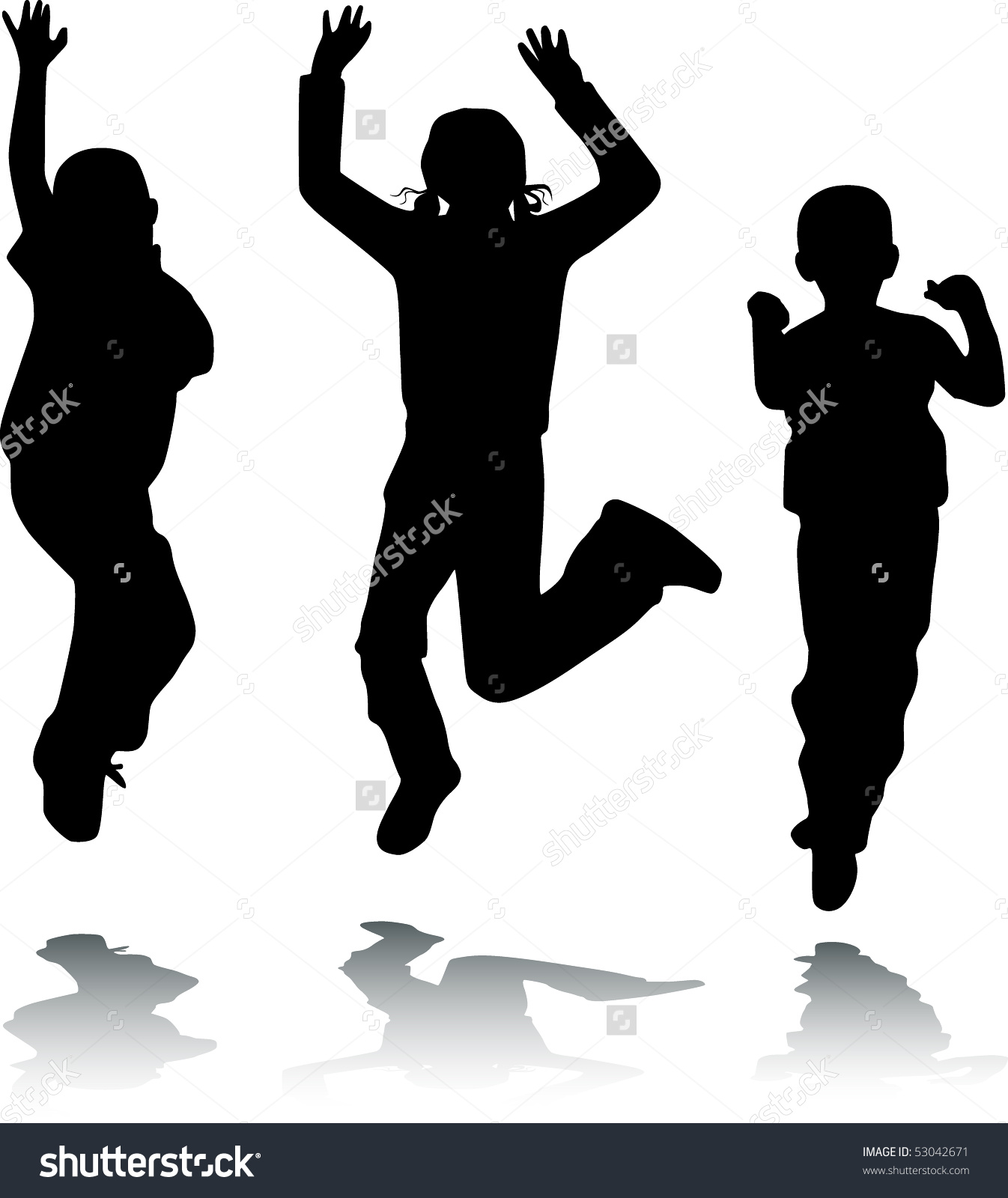 Children Jump Happy Kids Vector Black Stock Vector 53042671.