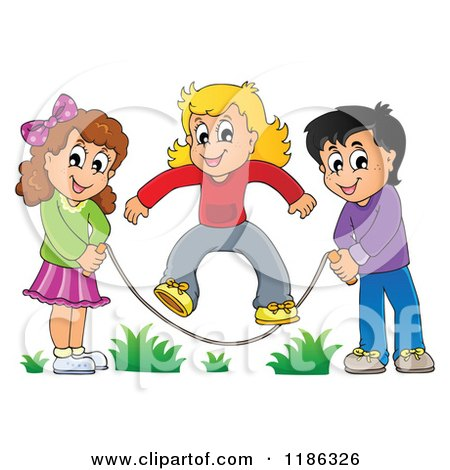 Clipart of a Cartoon Hispanic Boy and White Girl Playing in a Ball.