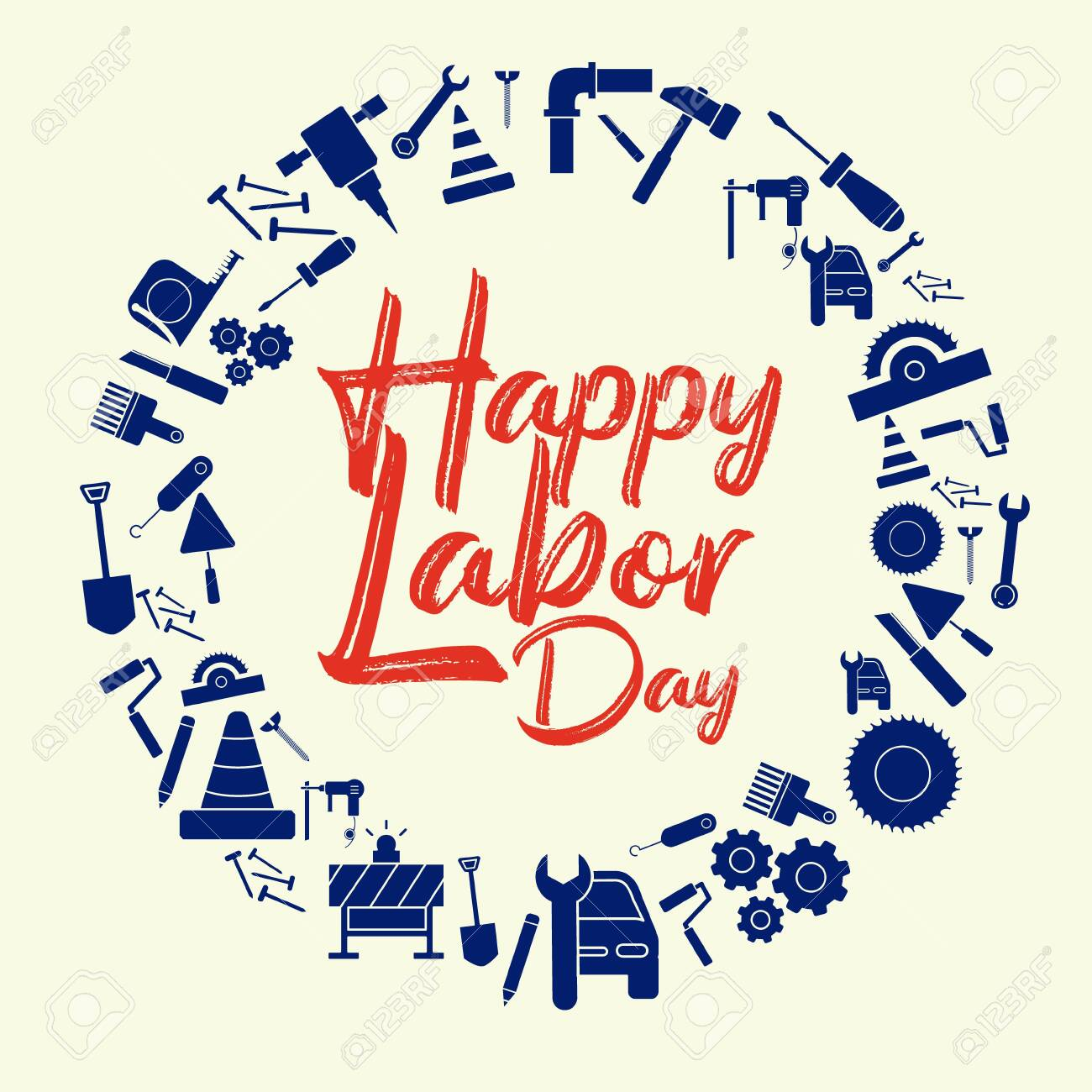 Happy Labor Day banner. Design template elegant with clip art...