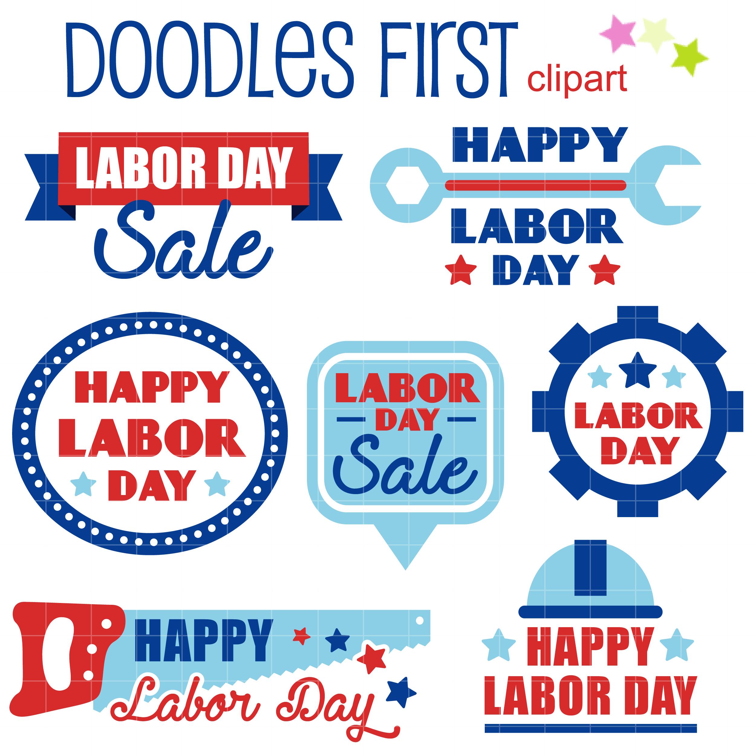 Happy Labor Day Clip Art Set.