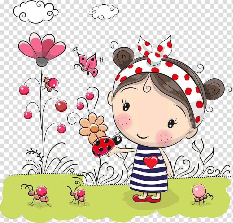 Flowers little girl, girl and ladybug on hand transparent.