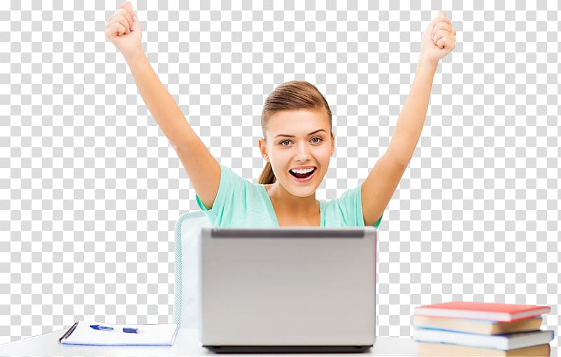 Laptop Student Happiness HP Pavilion, happy women.