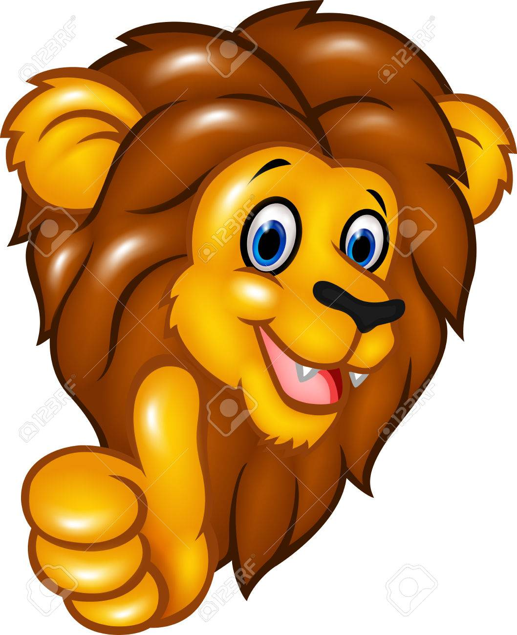 Vector illustration of Happy lion mascot giving thumbs up.
