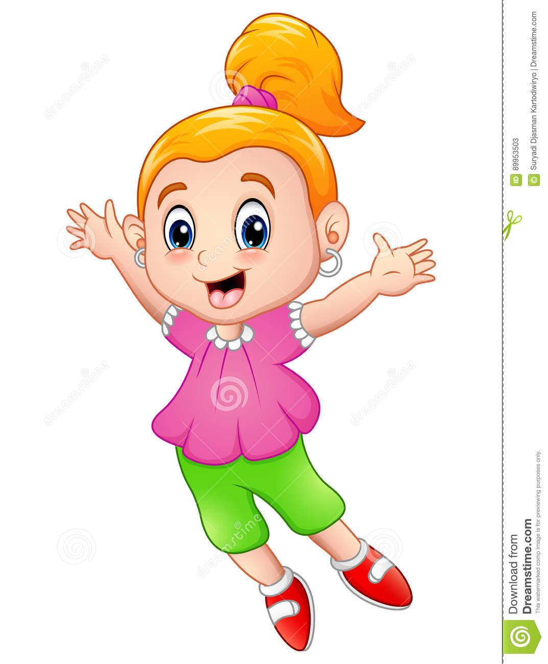 Happy Little Girl Clipart.