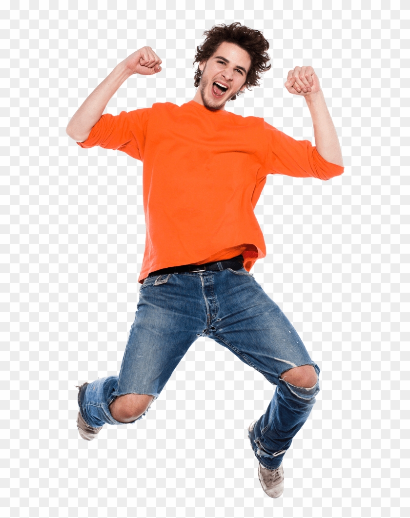 Happy Man Jumping Png, Transparent Png.
