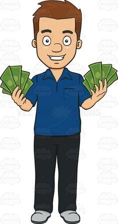 Happy Man Showing Off His Money.