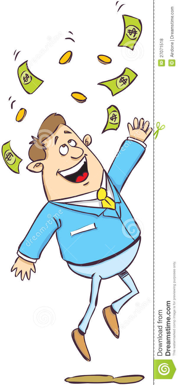Happy Man Under Money Rai Royalty Free Stock Photos.