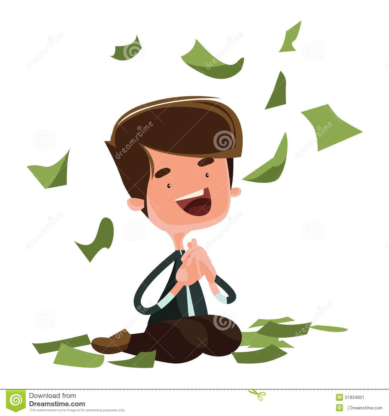 Raining Money Happy Man Sitting Illustration Cartoon Character.