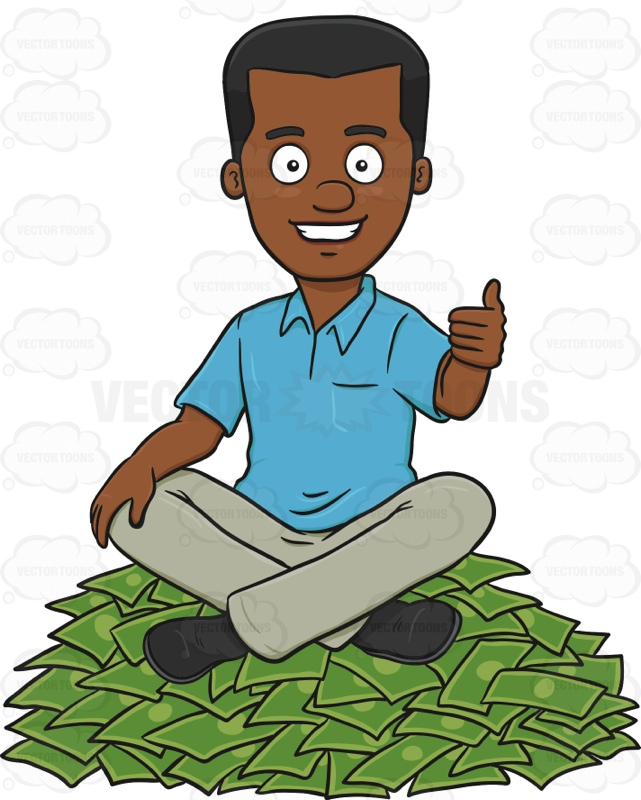 Happy Man Sitting On Top Of A Money Pile Cartoon Clipart.
