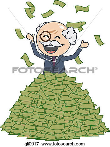 Stock Illustration of A happy rich man throwing money in the air.