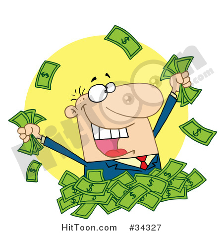 Money Clipart #34327: Happy Caucasian Man in a Pile of Cash.