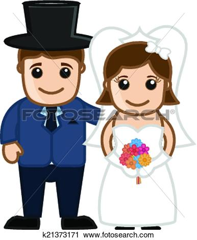 Clipart of Cartoon Happy Married Couple k21373171.