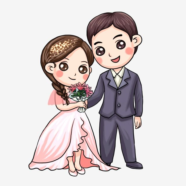 Chinese Style Cartoon Bride And Groom Wedding, Illustration.