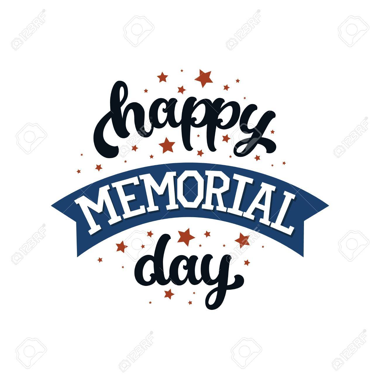 Happy memorial day, text with stars and ribbon on white background.