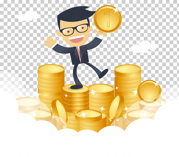 Money , Cartoon happy businessman with money , man standing.