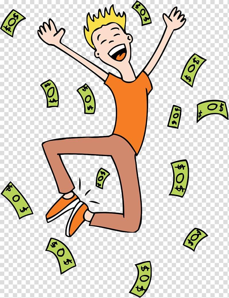 Happy cartoon sack money man transparent background PNG.