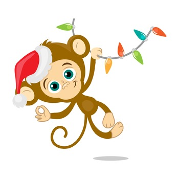 Happy monkey, christmas, New Year holidays, digital clip art.