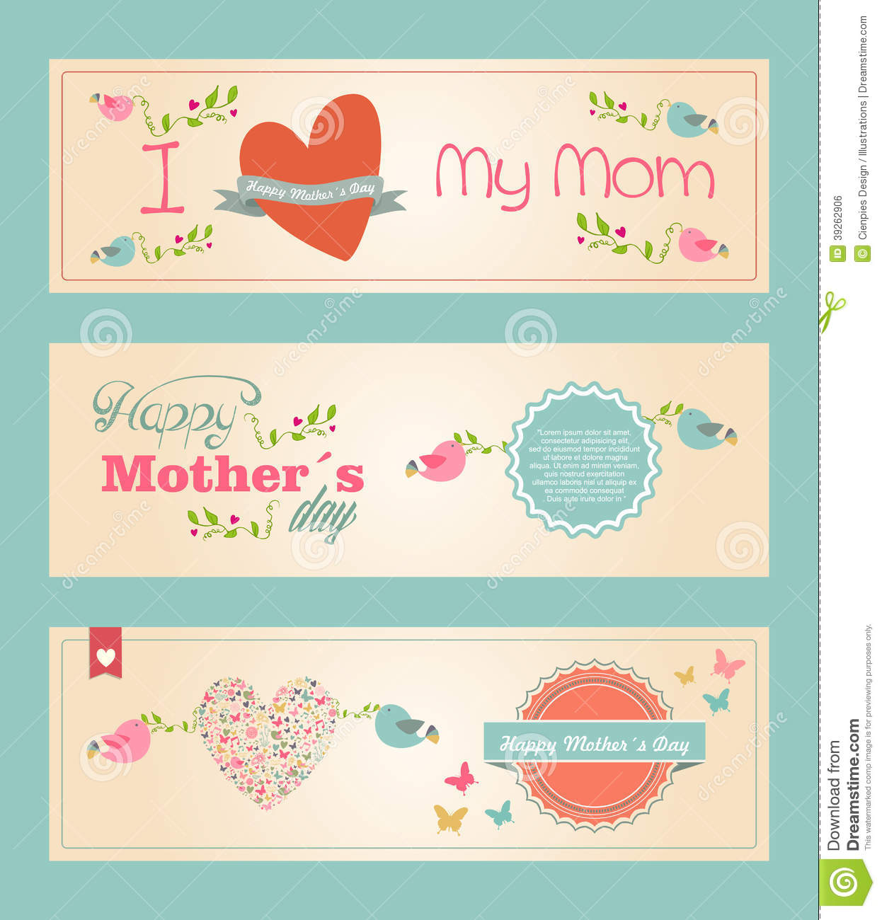 Happy Mothers Day Banner Free Clipart.