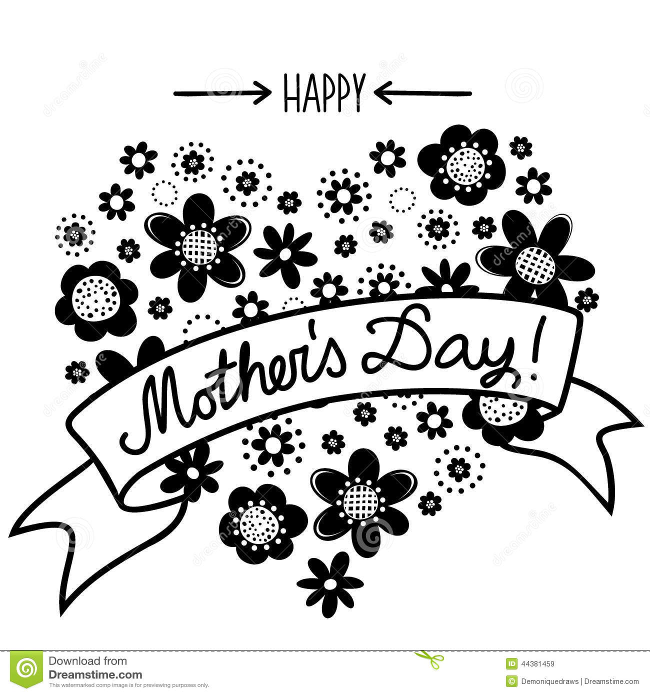 Happy Mothers Day Clipart Black And White.