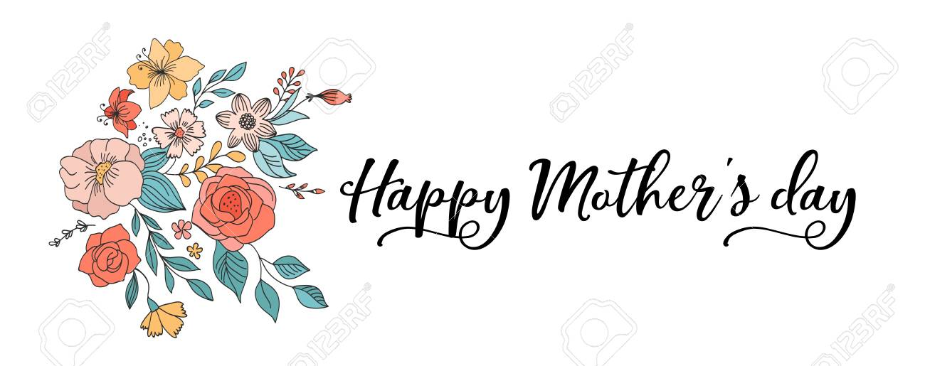 Happy Mother's Day Background, banner and illustration with flowers.