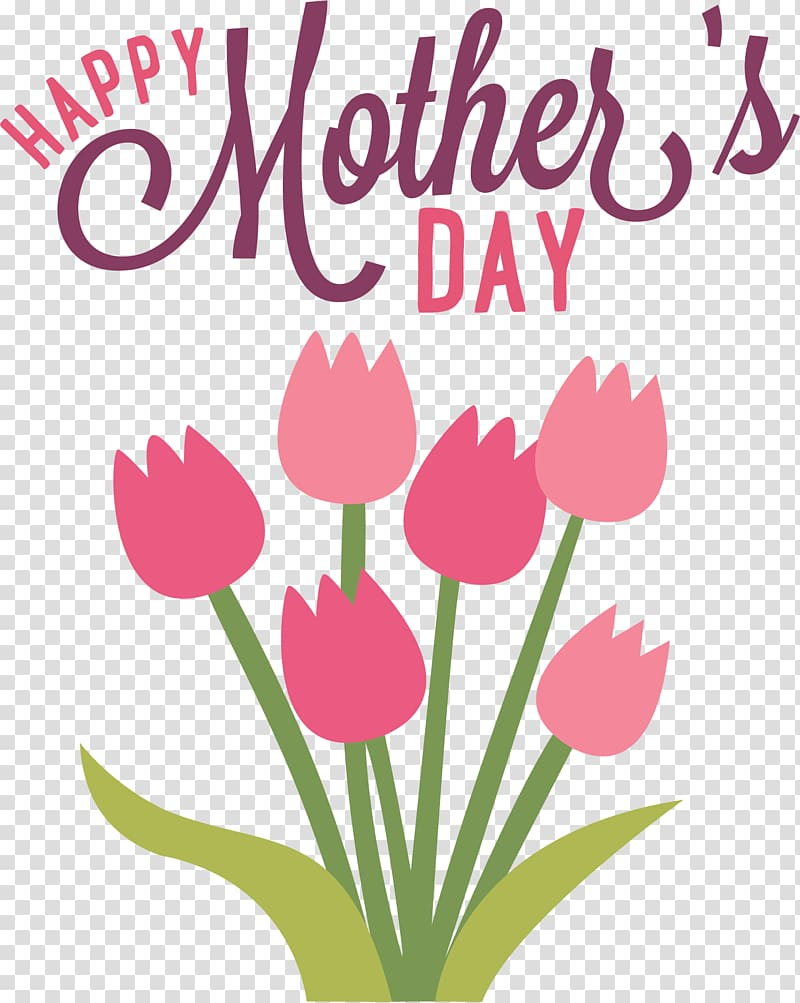 Pink flowers with Happy Mother\'s Day overlay text, Happy.