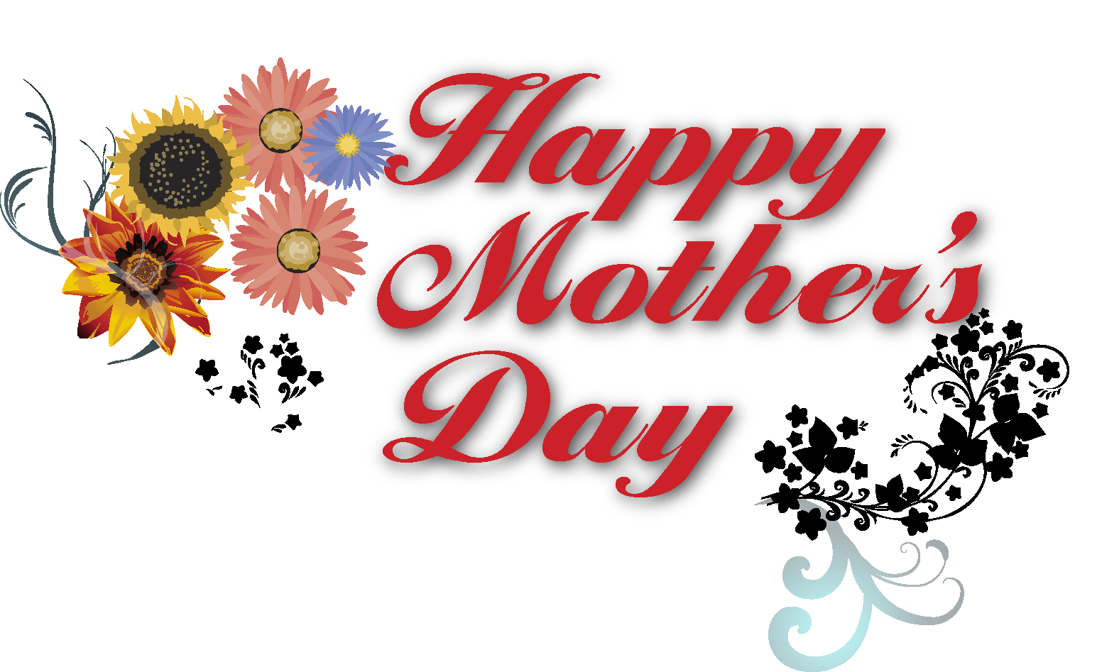 Happy Mothers Day Banner Text transparent PNG.
