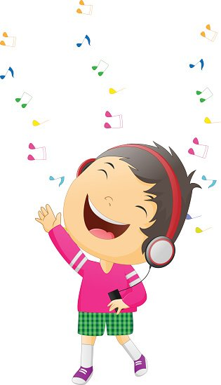Illustration boy happy Listening to Music Clipart Image.