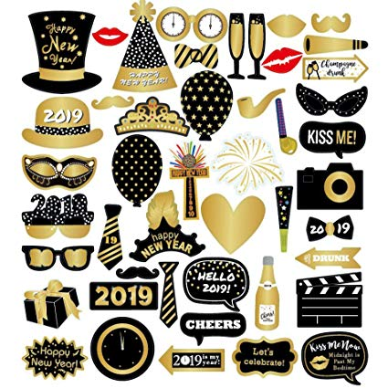 Amazon.com: 45 Pcs 2019 New Year\'s Eve Party Card Masks.