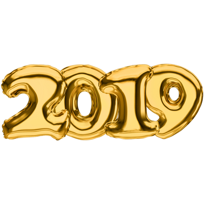 Happy New Year 2019 Colourful transparent PNG.